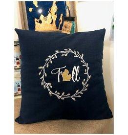 Bear Den Handmade Embroidered Pillow - MI Fall Navy 21''