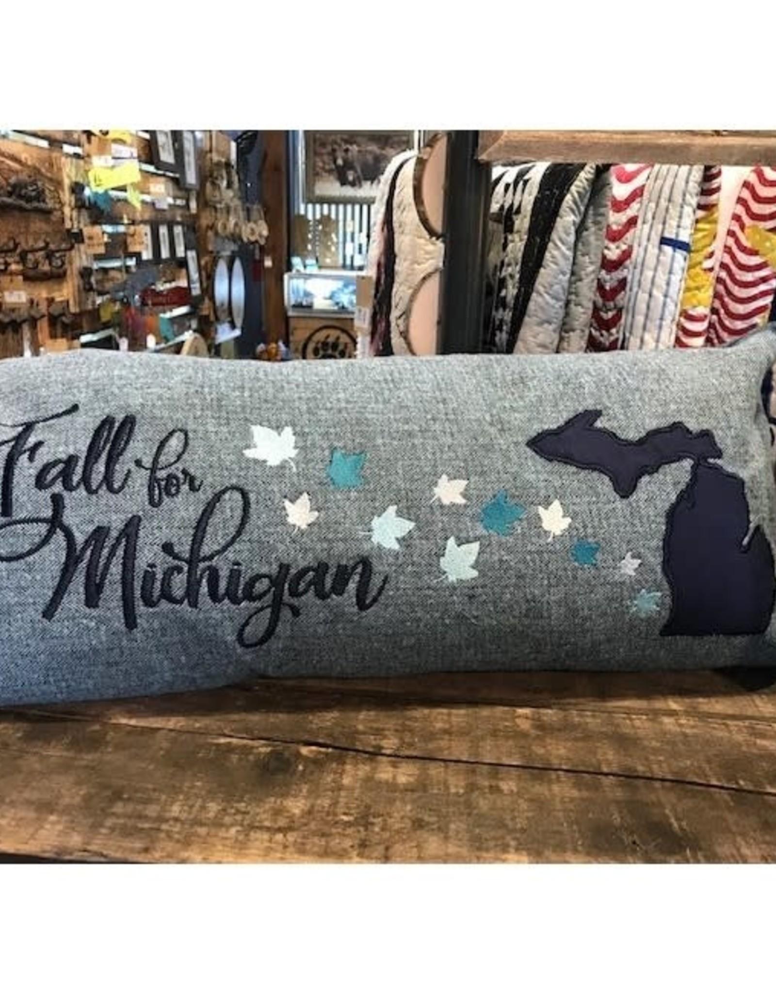 Bear Den Handmade Embroidered Pillow - Fall For MI Blue Shades Edition