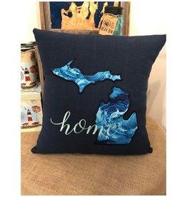 Bear Den Handmade Embroidered Pillow - MI Home Navy Waves