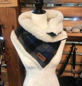 Bear Den Handmade Sherpa & Flannel Neck Warmer - Ocean