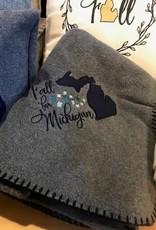 Bear Den Handmade Fleece Blanket - Fall for Michigan Gray 50''x60''