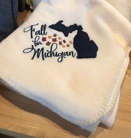 Bear Den Handmade Fleece Blanket - Fall for Michigan Beige 50''x60''
