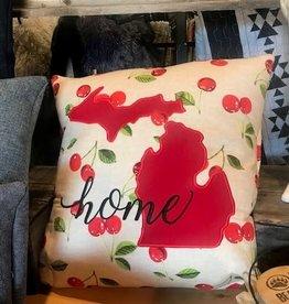 Bear Den Handmade Embroidered Pillow - Cherries on Beige 21''