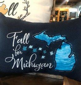 Bear Den Handmade Embroidered Pillow Mini - Fall for MI Navy 9''x7''