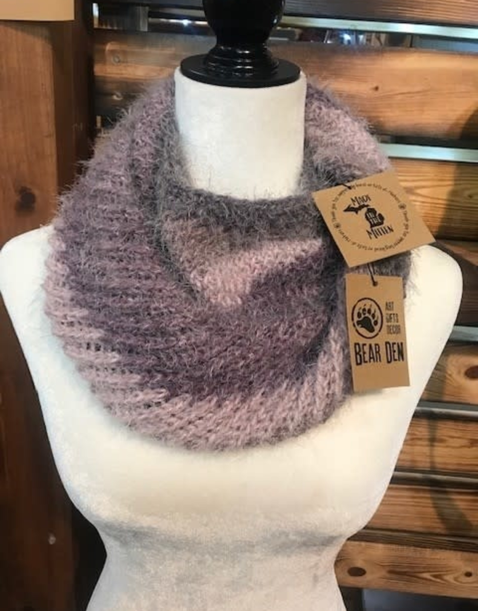 Knit Infinity Scarf - Purple & Gray Ombre