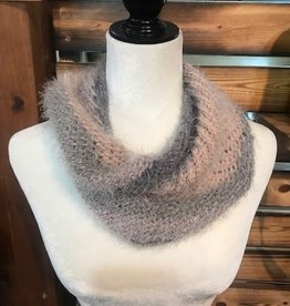 Knit Infinity Scarf - Pink & Gray Ombre