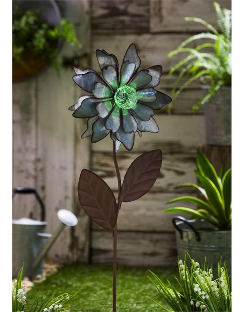 Glow In The Dark Galvanized Floral Garden Stake