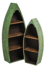 Metal And Wood Boat Shelves  (Set Of 2)