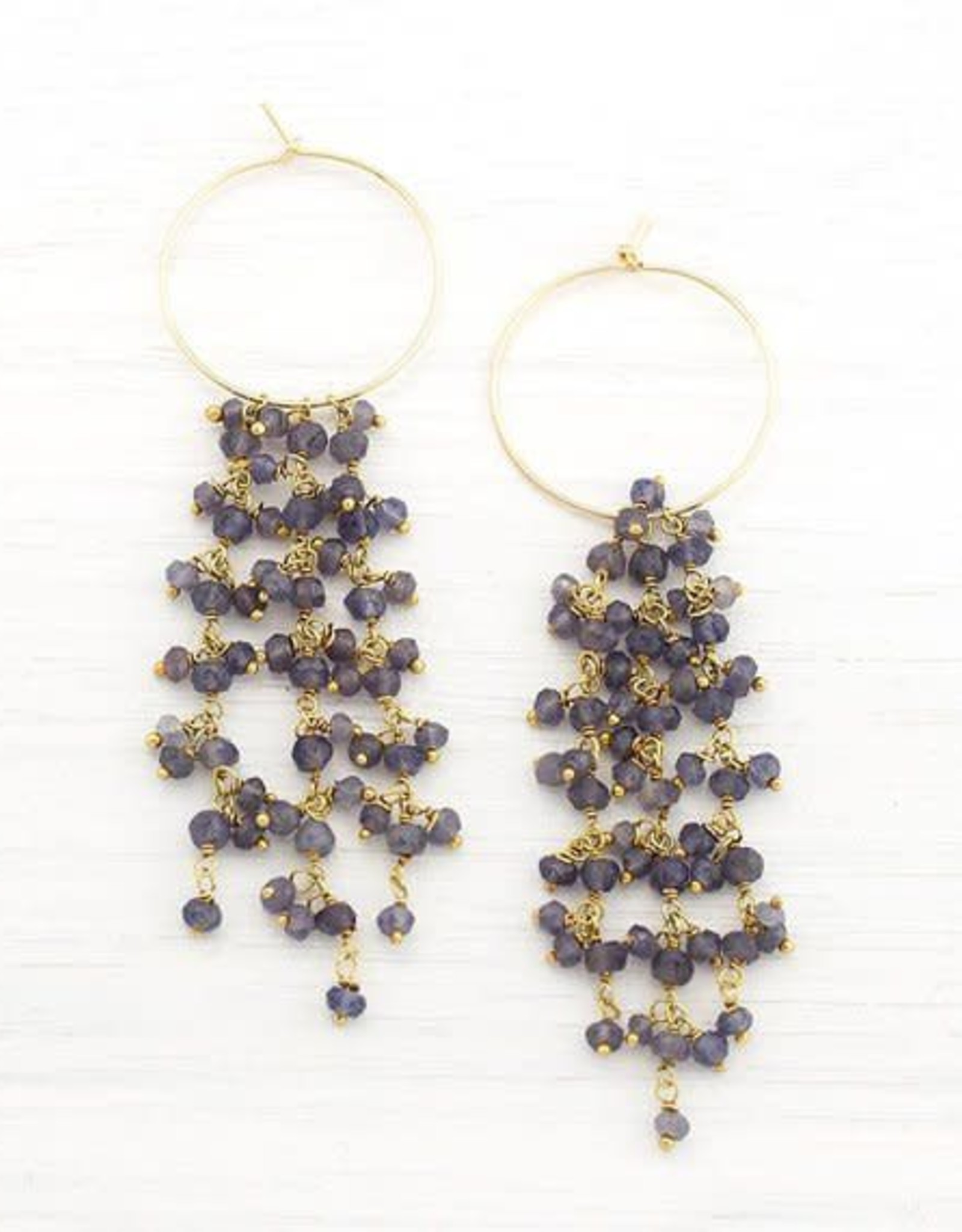 Beaded Earrings - Kyanite/Gold