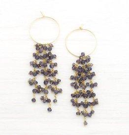 Beaded Earrings - Kyanite/Gold