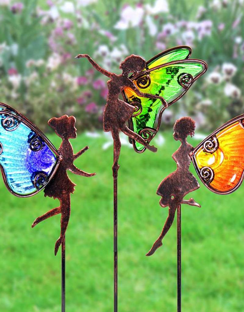 Fairy Planter Stakes - Bronze and Glass