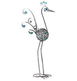 Bird Statue - 28 Inch Pewter Filigree Bird