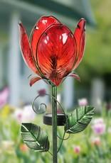 Solar Tulip Flower Stake - Red