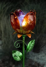 Solar Tulip Flower Stake - Orange