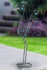 Bird Statue - 48 Inch Filigree with Blue Beads