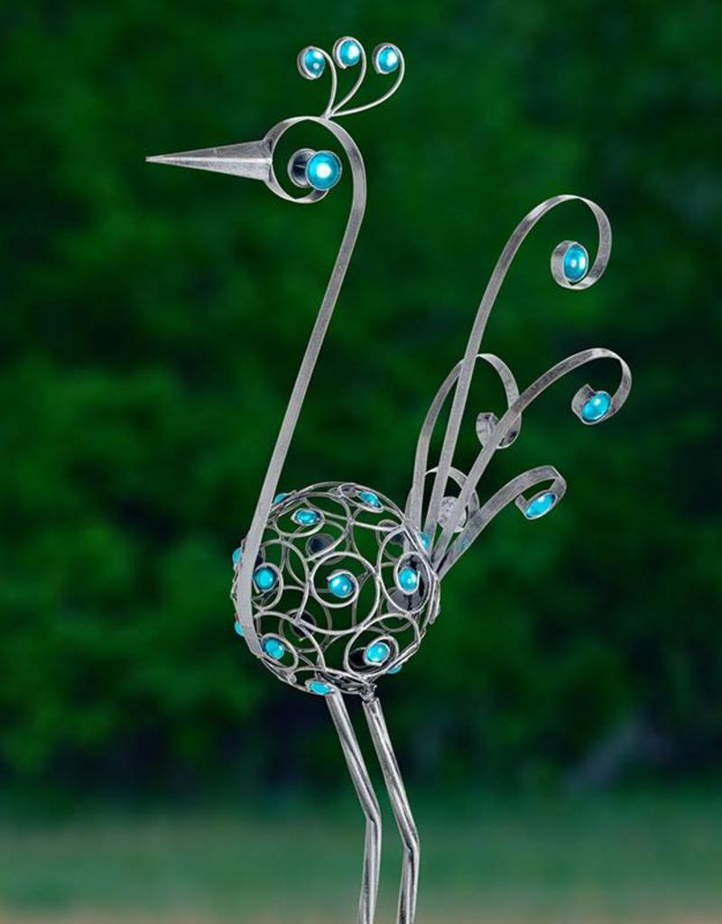 Bird Statue - 48 Inch Filigree with Blue Beads