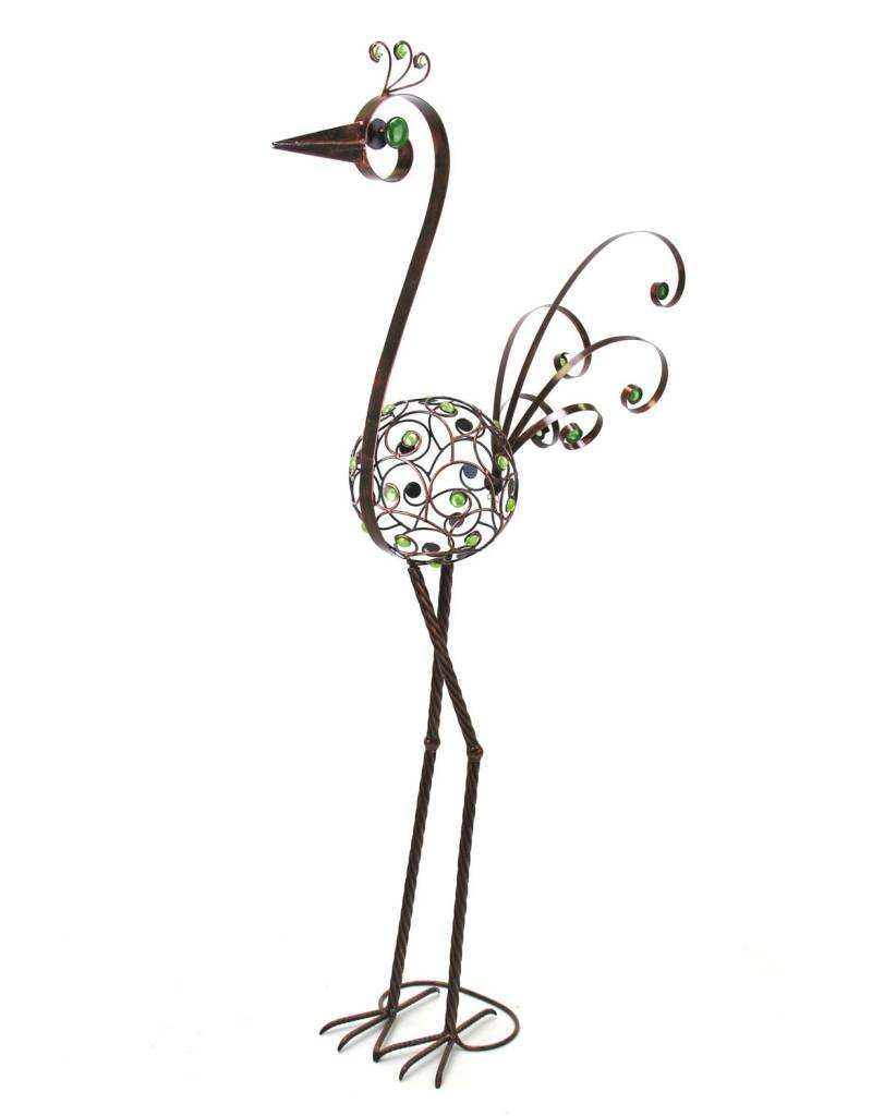 Bird Statue - 48 Inch Filigree with Green Beads