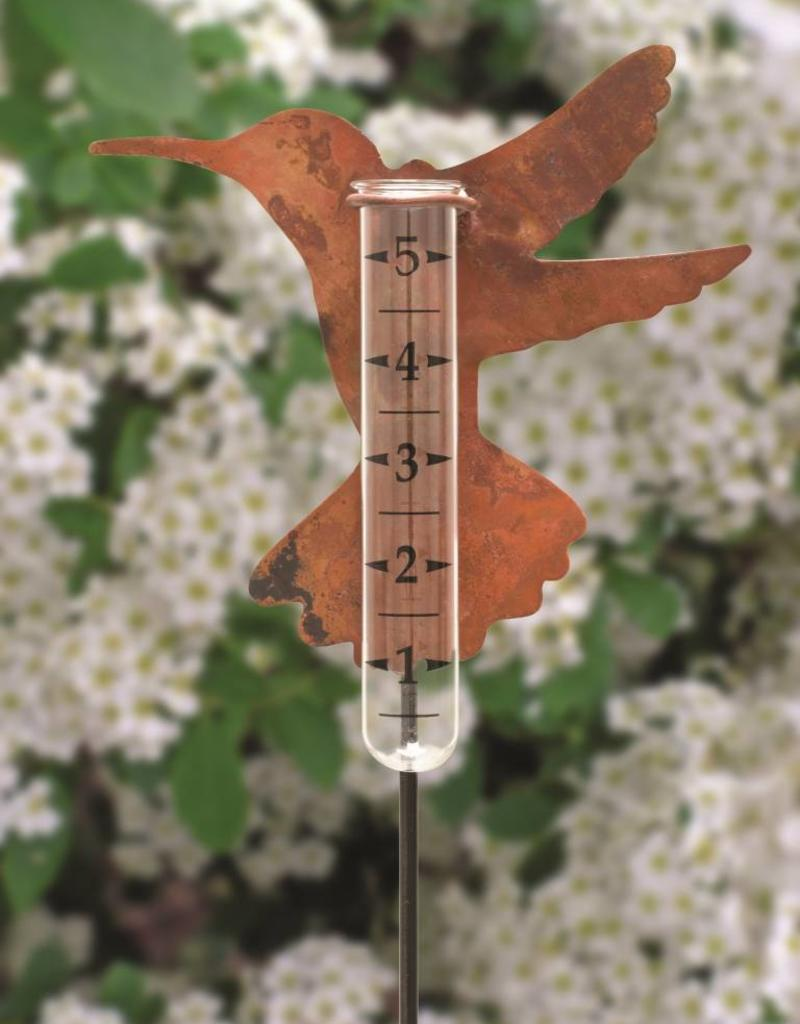 Copper Hummingbird Rain Gauge