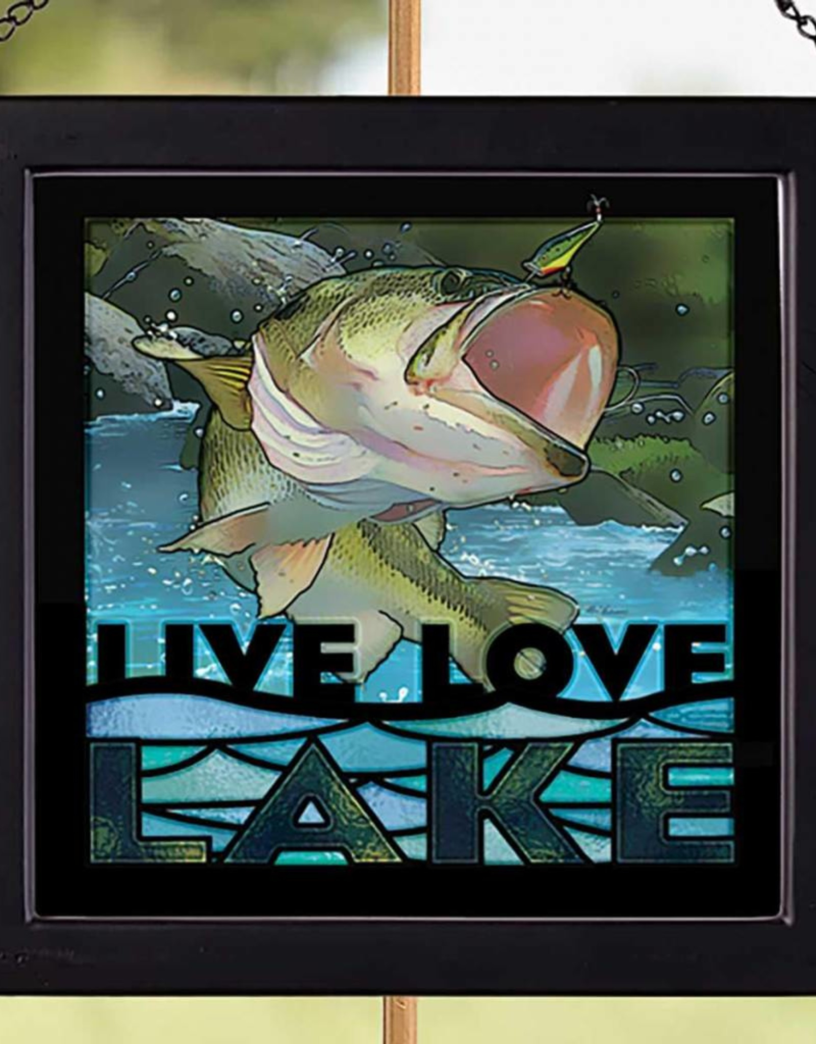 Live Love Lake-Bass Stained Glass Art