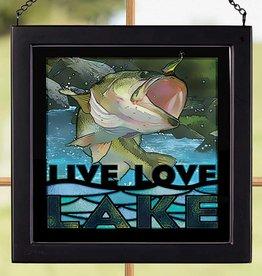 Live Love Lake-Bass Glass Sign