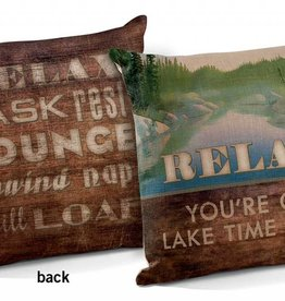 Relax - You're on Lake Time Pillow