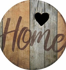 Home-Heart Small Round Wood Sign
