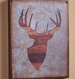 """Whitetail Deer Bust Silhouette 12"""" x 16"""" Box Art Sign by Jack Hagerman"""