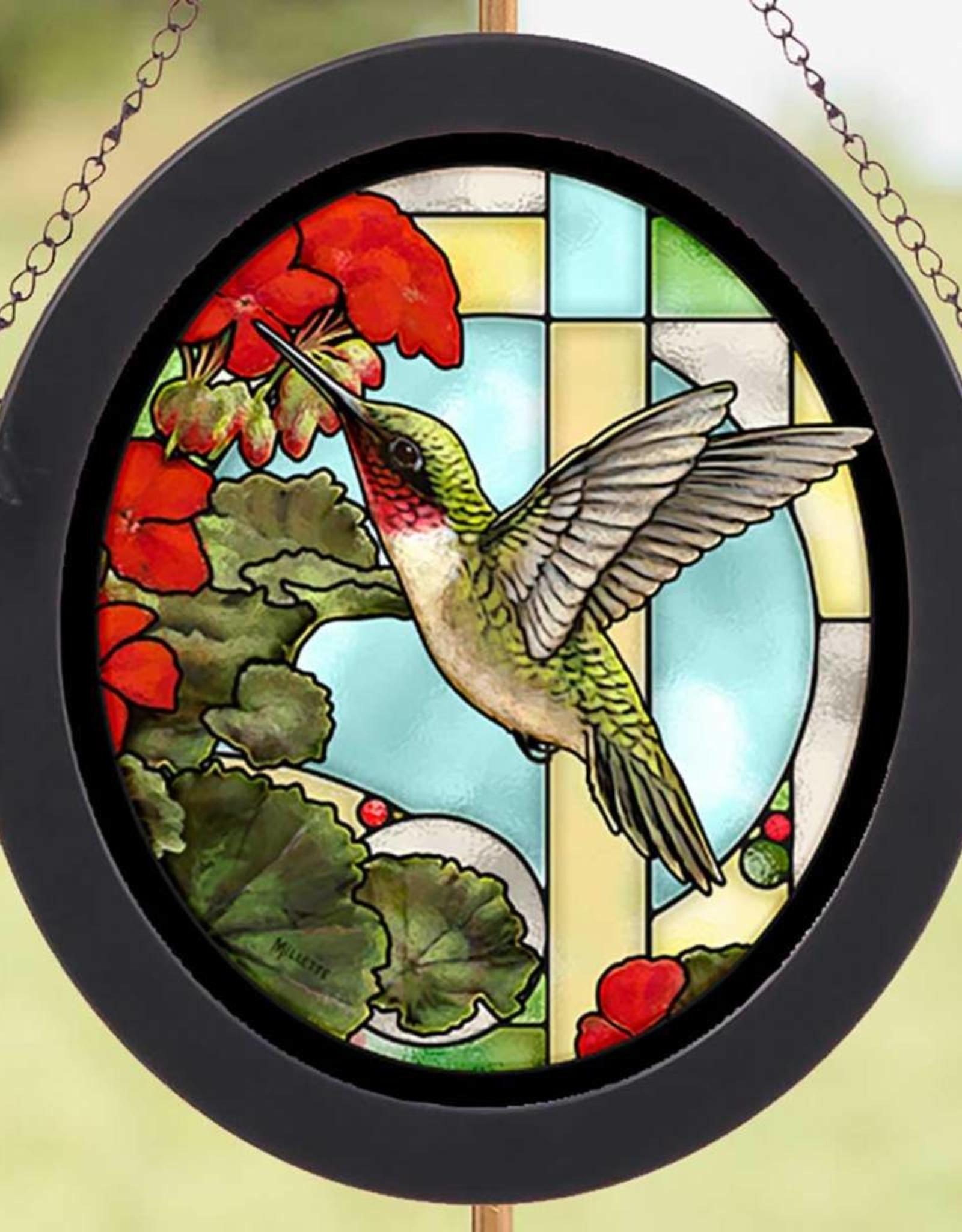 Hummingbird & Geraniums Glass Art