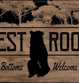 "Rest Room - Bear 12"" x 18"" Saw-Cut Wood Sign"