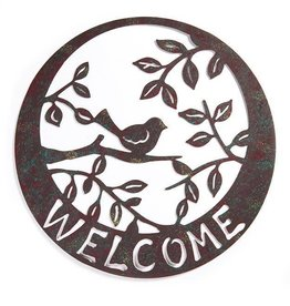 Natural Living Bird Design Welcome Wall Plaque