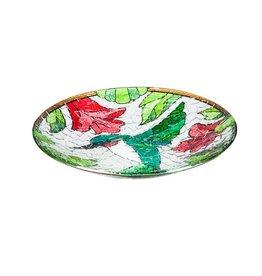 Bird Bath - Fused Glass Hummingbird