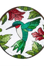 Bird Bath - Fused Glass Hummingbird