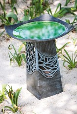Hand-Glazed Ceramic Bird Bath