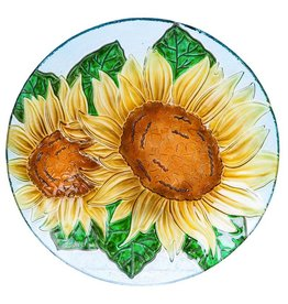 Bird Bath - Pebble Glass Sunflowers