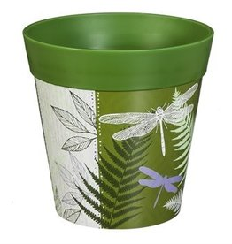 Planter Pot - Green Drangonfly & Fern