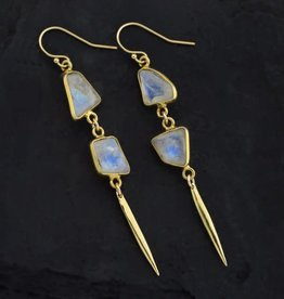Dangle Earrings - Rainbow Moonstone/Gold