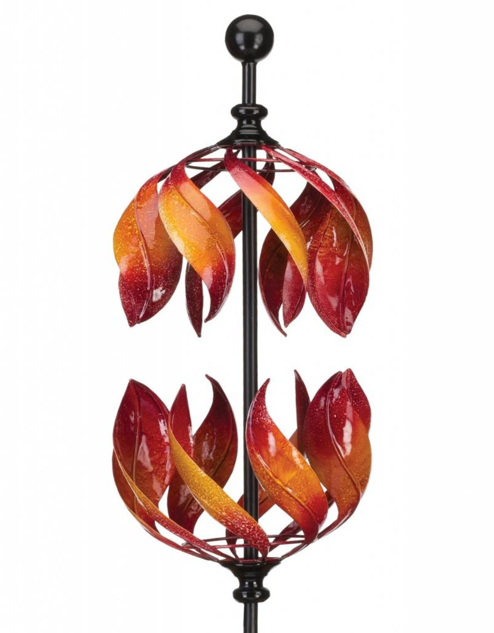 Vertical Kinetic Wind Spinner Stake - Double Flame