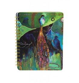 Flora Bird 3 Peacock Spiral Journal