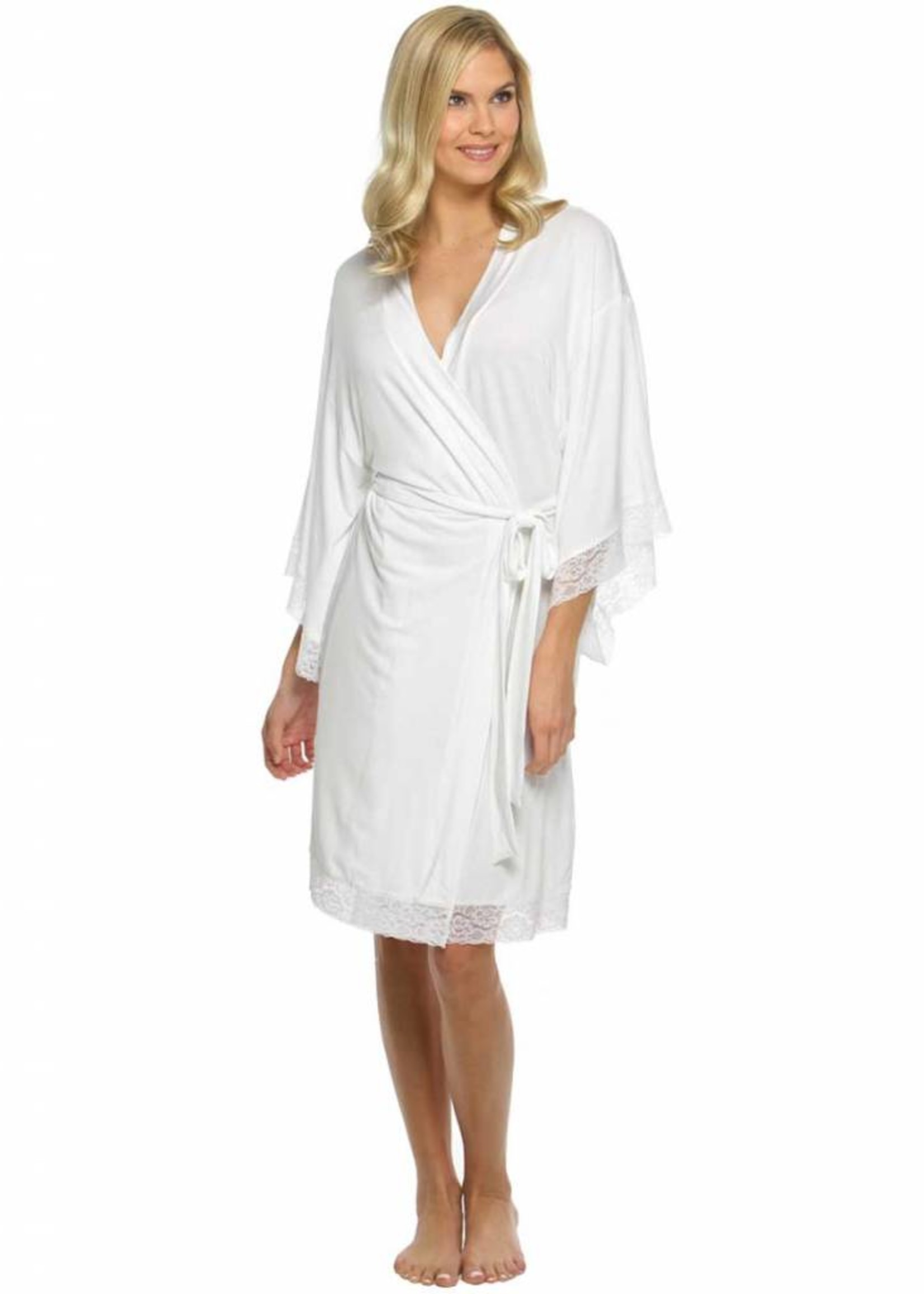 White Jersey Laced Robe