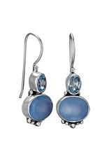 Blue Chalcedony & Topaz Oval Facet Earrings