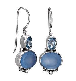 Bl Chalcedony & Bl Topaz Oval Facet Earrings