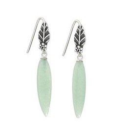 Aventurine Drop Off Leaf Earrings