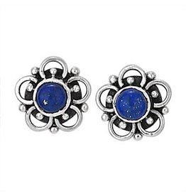 Flower Stud Lapis Lazulia Earrings