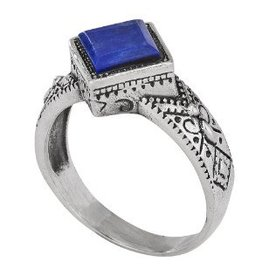 Decorated Bezel Lapis Lazuli Ring