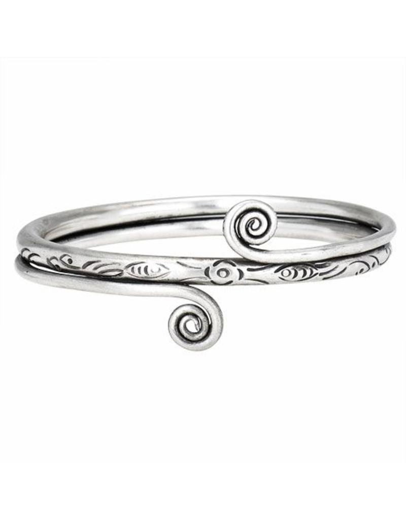 Engraved Double Spiral Bangle