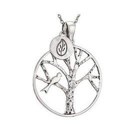 Tree & Bird w/ Leaf Necklace