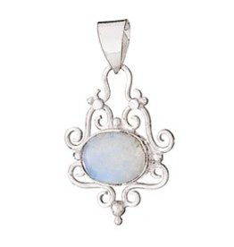 Rainbow Moonstone Pendant w/ Filigree