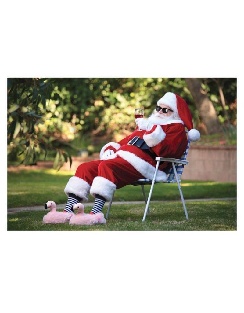 Christmas Card Santa Slippers