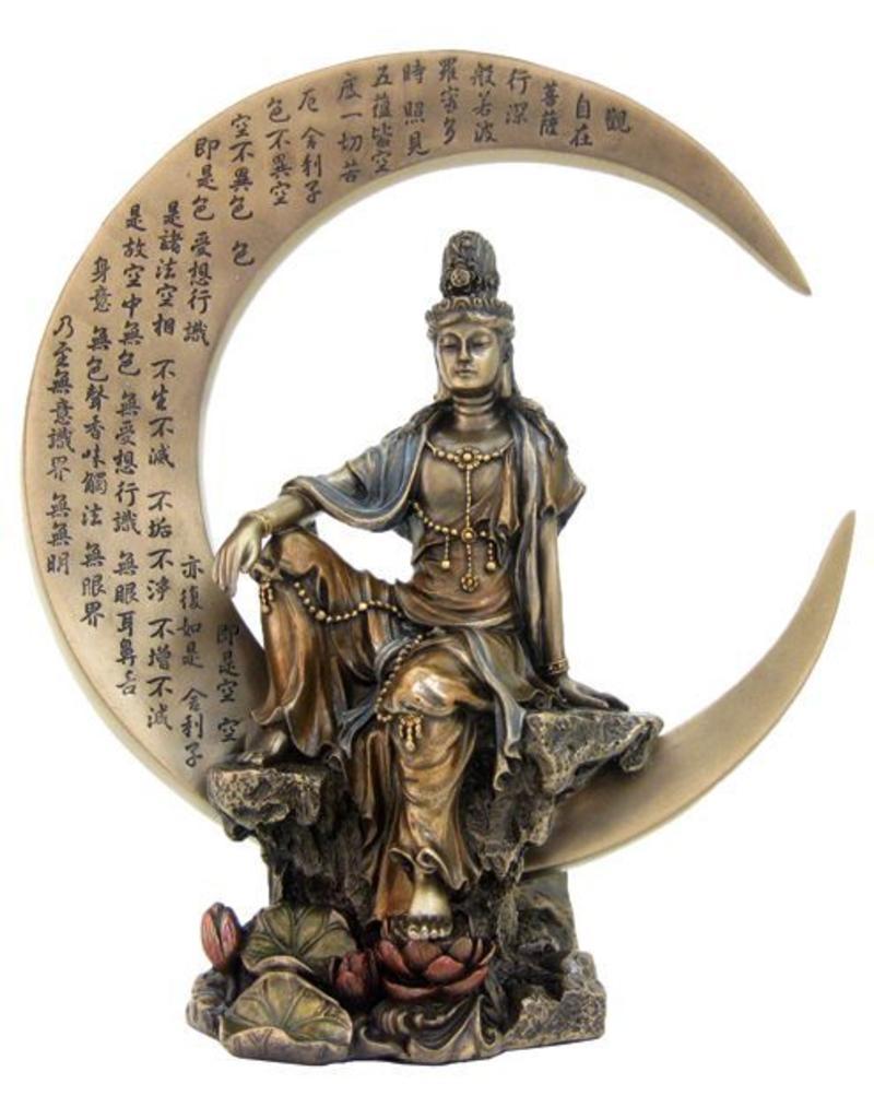 Quan Yin on Crescent Moon Statue