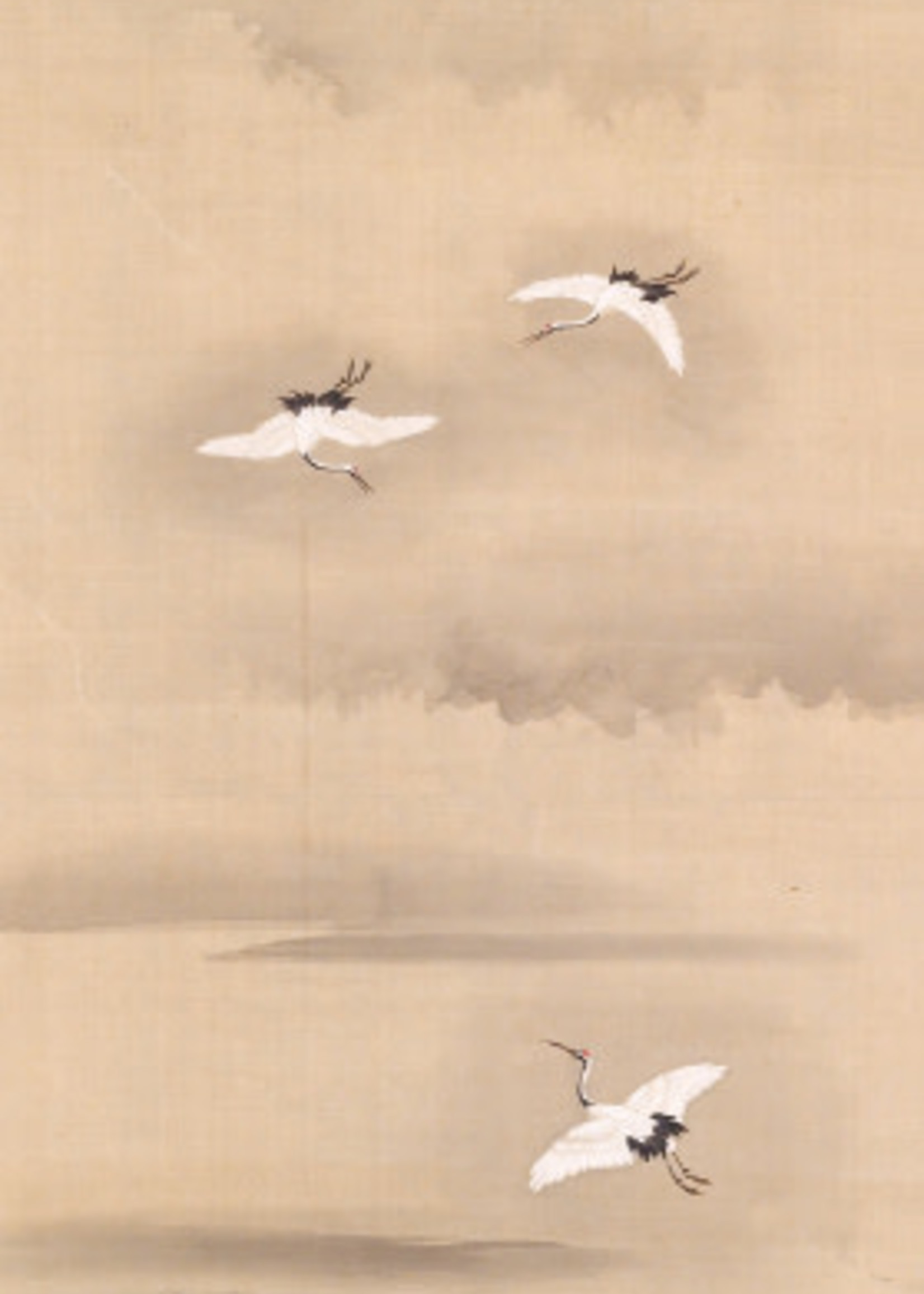 Bookmark Three Cranes Flying in a Misty Landscape